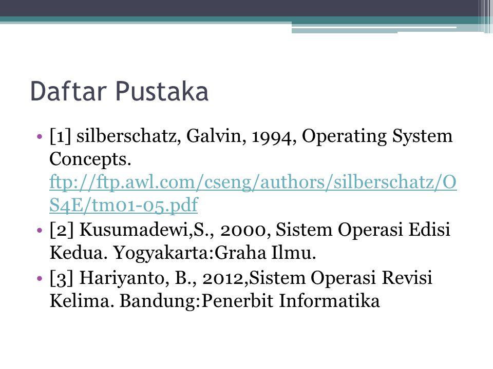 Daftar Pustaka [1] silberschatz, Galvin, 1994, Operating System Concepts. ftp://ftp.awl.com/cseng/authors/silberschatz/O S4E/tm01-05.pdf.